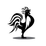 Rooster.Silhouette of the cock on white background.. Rooster.Silhouette of the cock on white background. Cock. Animal. The black silhouette of bird.illustrator Stock Images