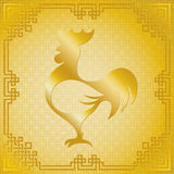 Rooster silhouette with oriental frame. Vector illustration of rooster animal golden symbol of chinese new year 2017 silhouette with oriental vintage frame on vector illustration