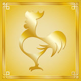 Rooster silhouette with oriental frame Stock Photo