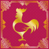 Rooster silhouette with red oriental frame. Vector illustration of rooster animal symbol of chinese new year 2017 silhouette with oriental vintage frame on vector illustration