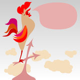 Rooster singing on a roof. With copyspace for your text Stock Photo