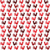 Rooster single simple icon silhouette 2017 seamless texture. On white Royalty Free Stock Photography