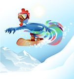 Rooster on snowboard riding mountain. Blue cock symbol 2017. Vector cartoon illustration Stock Photography