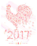 Rooster of snowflakes. / decorative symbol of chinese new year / chicken / cock Stock Photography