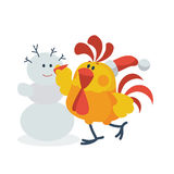 Rooster with Snowman Flat Vector Illustration Royalty Free Stock Photography