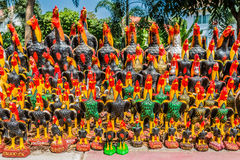 Rooster statues offerings Wat Yai Chaimongkol Ayutthaya bangkok Royalty Free Stock Photos