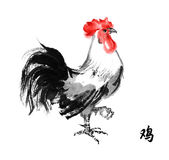 Rooster sumi-e. Rooster standing on one leg, oriental ink painting with  hieroglyph rooster Sumi-e illustration isolated on white background. Symbol of the Stock Images