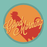 Rooster and sun Good morning vintage style Royalty Free Stock Image