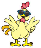Rooster in sunglasses. Showing gesture victory Royalty Free Stock Photography