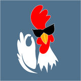Rooster in sunglasses showing OK sign gesture. Royalty Free Stock Photos