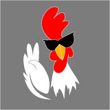 Rooster in sunglasses showing victory gesture. Cock. Chinese New Year 2017 symbol Royalty Free Stock Images