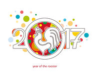 Rooster, symbol of 2017. Stock Photography