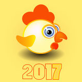 Rooster symbol calendar of 2017 on a yellow background vector illustration. Vector rooster symbol of 2017new year on a yellow background vector illustration Stock Photos