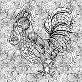 Rooster, symbol of 2017 for Chinese calendar. Coloring book page. Rooster, symbol of 2017 for Chinese calendar. Coloring book page, cock with christmas ball in Royalty Free Stock Image