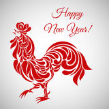 Rooster, symbol of 2017 on the Chinese calendar. Happy new year!. Stylized cock decorated with floral ornament Stock Image