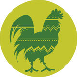 Rooster symbol of Chinese New Year. Green silhouette royalty free illustration