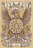 Rooster symbol with clock, sun, baroque decorations and vignette ribbons on old texture background Stock Photo
