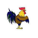 Rooster symbol. Illustration in cartoon style Stock Image