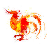 Rooster symbol of year 2017 made of colorful grunge splashes Royalty Free Stock Image