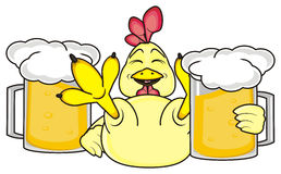 Rooster with two glasses of beer Stock Photo