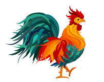 Rooster. Vector. Colorful rainbow. Symbol 2017. Cockerel Stock Image