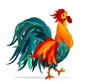 Rooster. Vector. Colorful rainbow.Symbol 2017. Cockerel Stock Photos