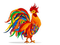 Rooster. Vector. Colorful rainbow. Symbol 2017. Cockerel. Rooster. Vector. Colorful rainbow. Symbol 2017.  Cockerel on a white background Stock Photo