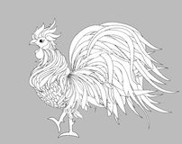 Rooster. Vector. Monochrome. Black and white graphic style. Symbol 2017. Isolated Cockerel Royalty Free Stock Photo