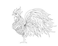 Rooster. Vector. Monochrome. Black and white graphic style. Symbol 2017. Isolated Cockerel on a white background Stock Photo