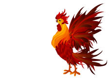 Rooster. Vector. Red.  Symbol 2017. Isolated Cockerel on a white. Background Stock Photography