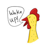 Rooster wake up call illustration Royalty Free Stock Images
