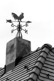 Rooster weather vane. On the roof with black tiles stock images