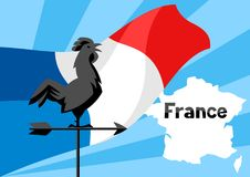 Rooster weathervane on flag of France. Patriotic illustration Royalty Free Stock Photography
