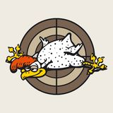 Rooster white and funny on the brown target background royalty free illustration