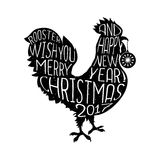 Rooster wish you Merry Christmas and Happy New Year hipster style poster   Royalty Free Stock Photography