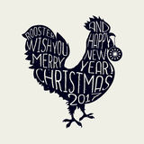 Rooster wish you Merry Christmas and Happy New Year, hipster style poster  Stock Image