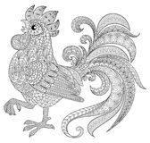 Rooster in zentangle style. Symbol of Chinese New Year 2017. Adult antistress coloring page. Black and white hand drawn doodle for coloring book Stock Images