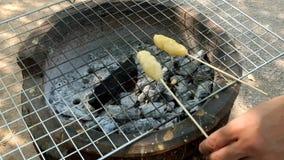 Roosterend kleverige rijst met ei op de stok, het noorden - oostelijk voedsel in Thailand stock videobeelden