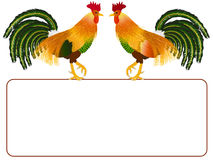 Roosters with banner. Stock Image