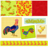 Roosters. And bright feather on the bright background royalty free illustration