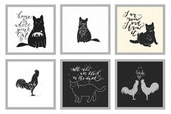 Roosters and cats. Vintage design with roosters and cats. Hand drawn lettering quotes stock illustration