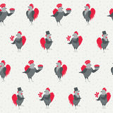 Roosters and chickens seamless background. Happy new year seamless background with cartoon roosters and chickens. Birds on a light background with grey stars vector illustration