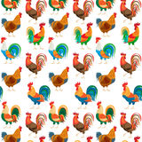 Roosters colorful seamless pattern Royalty Free Stock Photography
