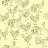 Roosters doodles pattern Stock Photo