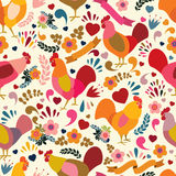 Roosters with floral elements. Vecrtor seamless pattern. Symbol of 2017 for packing, poster, card, invitation, brochure, flyer, label Royalty Free Stock Images