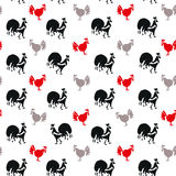 Roosters and Hens animal seamless pattern. Hand drawn Roosters and Hens. Stylish animal seamless pattern Stock Images