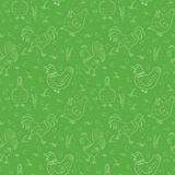 Roosters and hens seamless pattern Stock Images