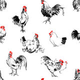 Roosters and hens sumi-e background Royalty Free Stock Photos