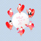 Roosters and hens in various poses a greeting text Stock Photos