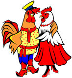 Roosters hugging Royalty Free Stock Photo